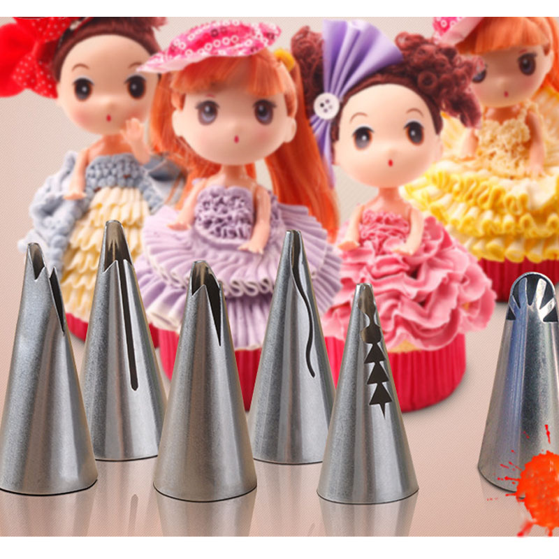 5Pcs/Set Stainless Steel Russian Pastry Nozzles Icing Piping Nozzles Pastry Decorating Cupcake Decorator Different Skirt Shape(China (Mainland))