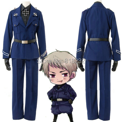 APH Axis Powers Hetalia Prussia Gilbert Beillschmidt Uniform Outfit Cosplay Costume Coat+Shirt+Pants+Belt+Tie+Cross+Gloves