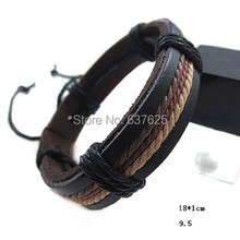 Fashion multicolor wax rope braided leather bracelet leather multi-level unisex free shipping