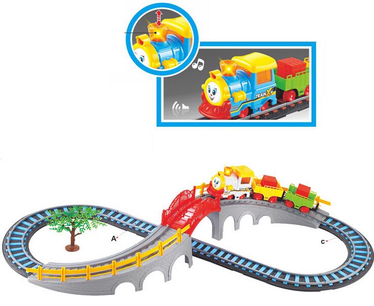 Free Shipping Thomas train children's educational music light electric rail car model toy car(China (Mainland))