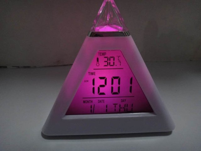 7 Color Change LED Digital Triangle Pyramid Alarm Clock desk clock  alarm clock  LED Pyramid Digital LCD Thermometer Triangle