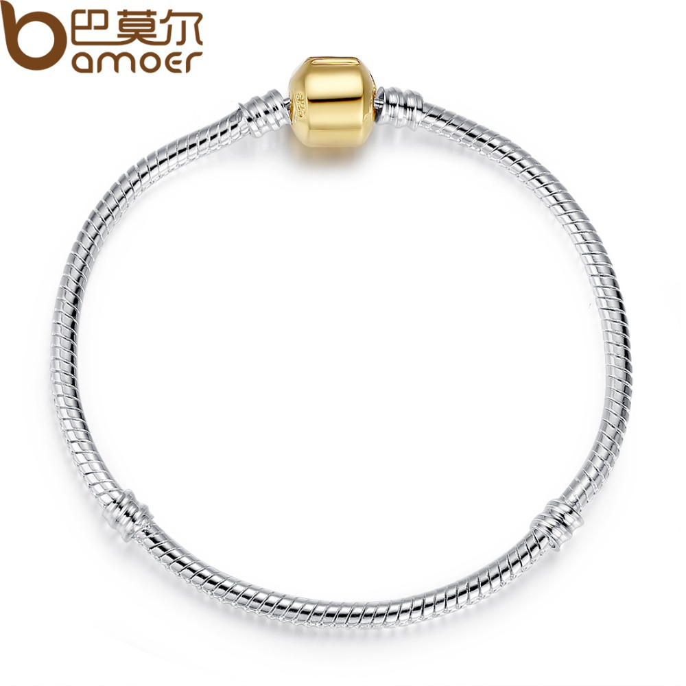 Bamoer European 925 Silver Snake Chain Bracelet with Barrel Clasp fit for Bead Charms 18CM 20CM 21CM PA9001(China (Mainland))