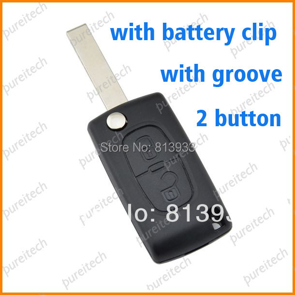 20pieces/lot car flip remote key blanks 2 buttons for citroen peugeot ce0536 with groove with battery clip(China (Mainland))