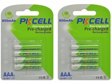 8Pcs/2Pack PKCELL 1.2V AAA NIMH Rechargeable Battery in 850mah capacity(China (Mainland))