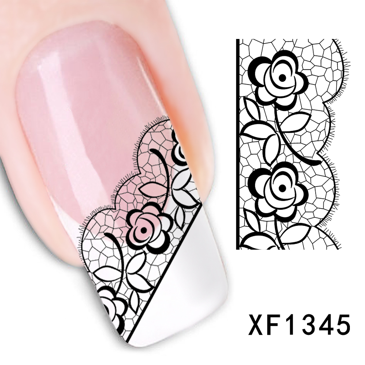 Гаджет  Sexy 3D Black Lace Flower Design Nail Art Stickers Decals For Nail Tips Nail Decoration Self Adhesive 1Sheet None Красота и здоровье