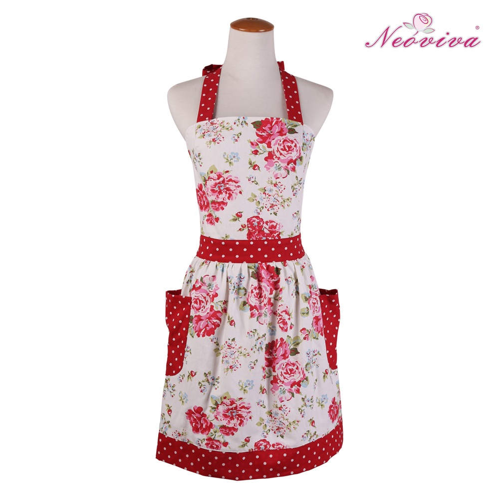 Neoviva Free Shipping 100% Cotton Red Kitchen Cooking Woman Apron 2 Pocket Floral Country Style Great Gift For Mothers' day(China (Mainland))
