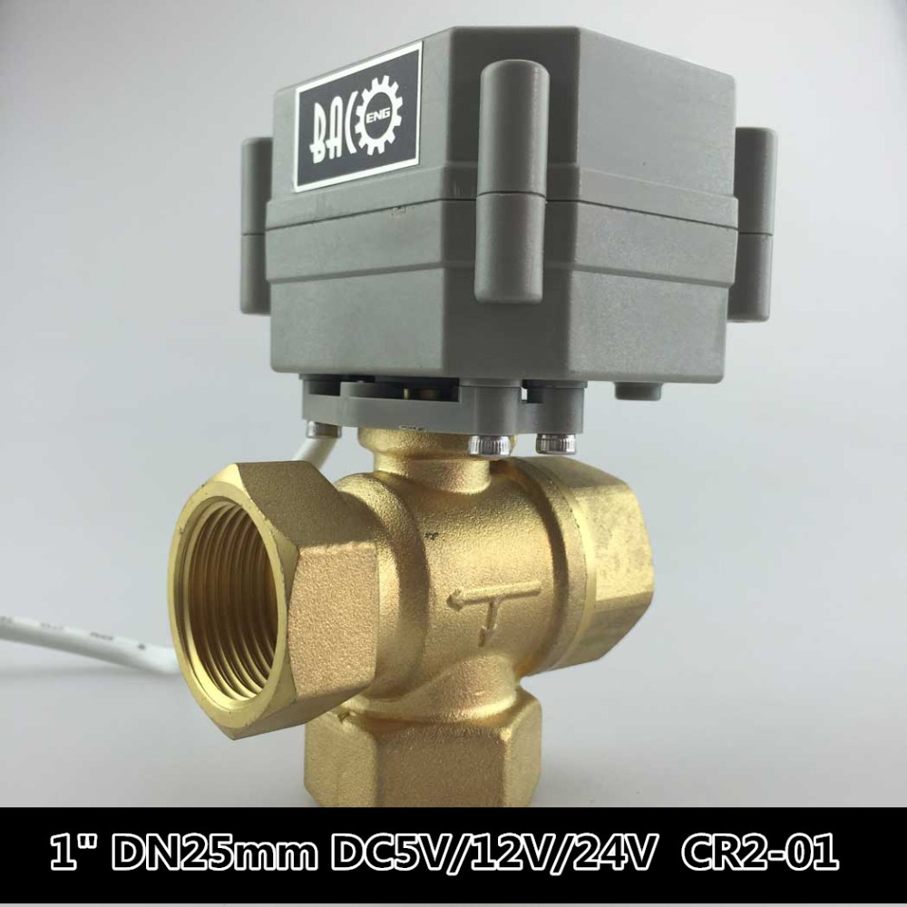 1 inch DN25mm DC5V/12V/24V 3 Way T Port Motorized Ball Valve ,Electric CR2-01 Wires, T25-B3-B - BACO Engineering Co.,Ltd store