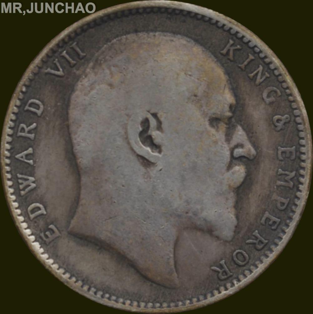 India Coin Edward Vii 1903 King Emperor 90 Silver One