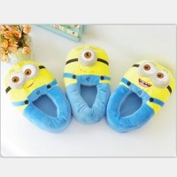 cartoon slippers despicable me 2 minions slippers home shoes soft cotton animal winter home warm slippers for kids women men HK