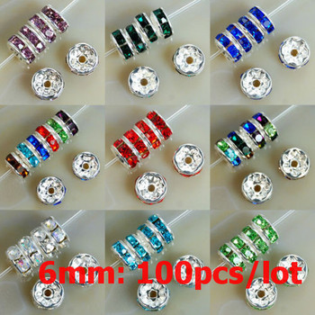 6MM AAA Metal Silver Plated Crystal Rhinestone Rondelle Spacer Beads 11Colors For Choose 100Pcs Free Shipping (w03258-w03269)
