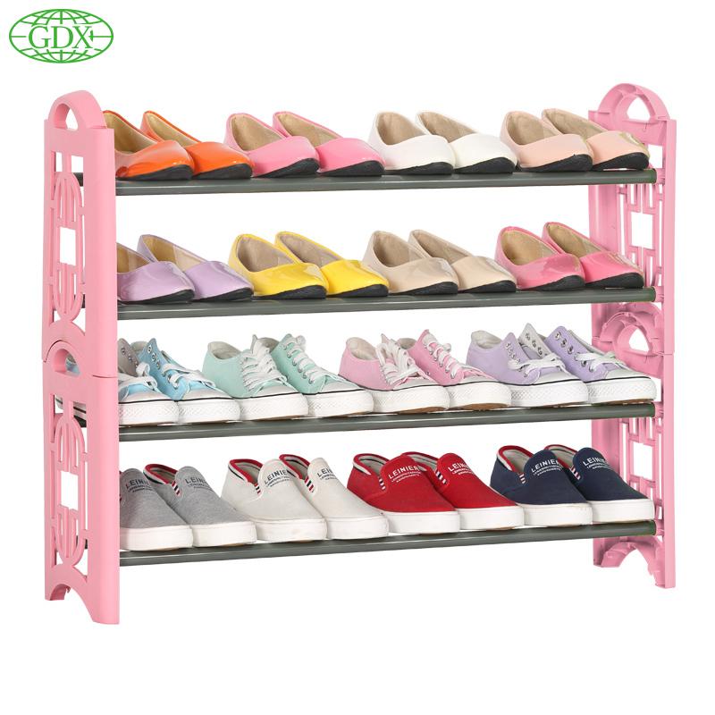 GDX 3pcs in 1 lot Brand New 4 Tiers 16 Pairs Shoe Shelf Rack Organizer Shoe Rack Shoes Stand Organizer DIY Simple Organizadors(China (Mainland))