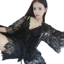free shipping 2016 new design summer style three pieces robe + nightgown + short pants fashion nightwear for women temptation(China (Mainland))