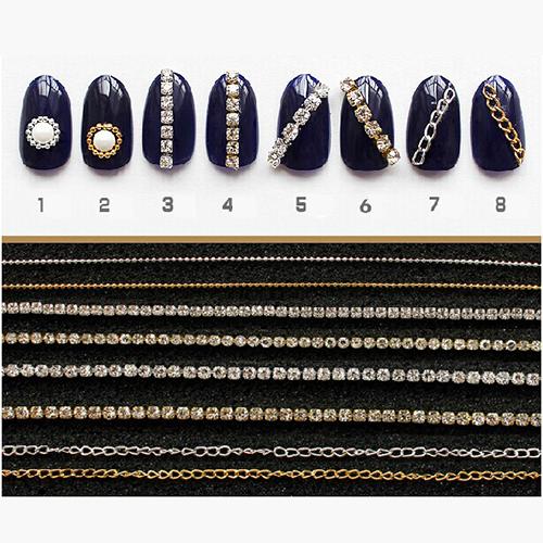 20cm Gold Silver Mini Shiny Rhinestones Chain Nail Studs Charming 3D Nail Art Chains Nail Charms Nail Decoration 8 Patterns(China (Mainland))