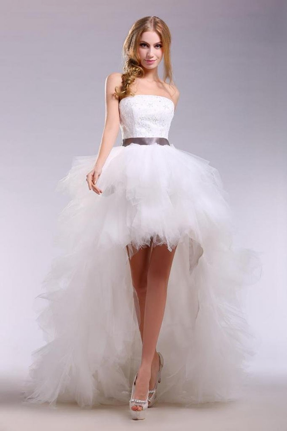 Vestido de noiva curto white tulle lace appliques long for Tulle high low wedding dress