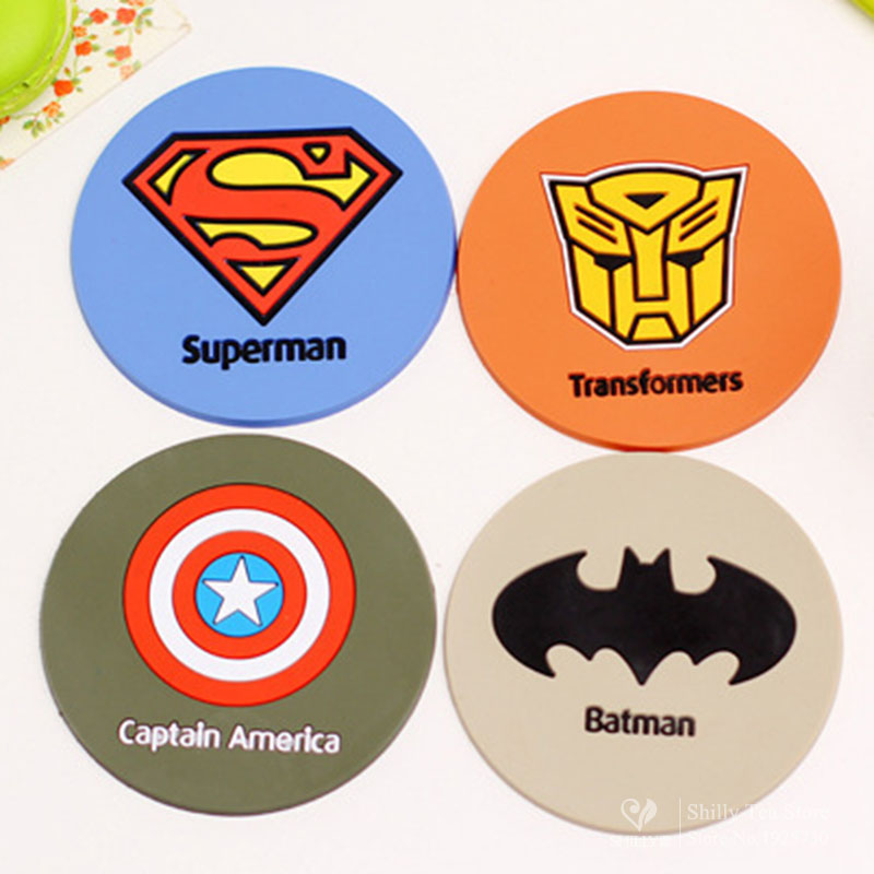 superman silicone dining table placemats coaster coffee cups drinks kitchen accessories cup bar mug placemats coaster mats pads(China (Mainland))