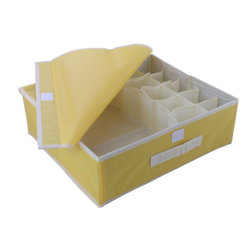 10 Cell New Brand Colorful Coverd Nonwoven Foldable Underwear Organizer Closet Drawer Storage Box For Socks Ties Bra Lingerie(China (Mainland))