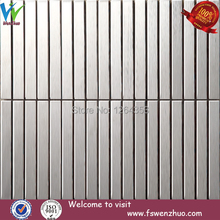 silver brushed stainless steel strip mosaic tile