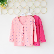 Hot retail Free Shipping2015 autumn children clothing kids girls candy color lace collar dot cardigan jacket outwear cotton100%(China (Mainland))