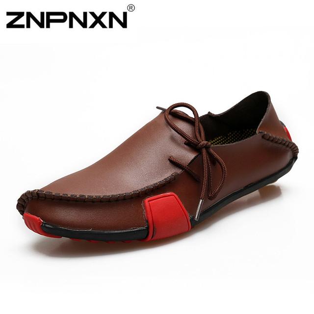Znpnxn мода квартиры обувь мужчины мокасины из натуральной кожи свободного покроя ...
