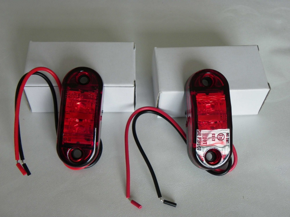 """Free Shipping Pair of Multi-Voltage 10V~30V 2.6"""" Waterproof CE Quality LED trailer/Truck/Boat/RV Clearance Marker Lamp 2 LEDs(China (Mainland))"""