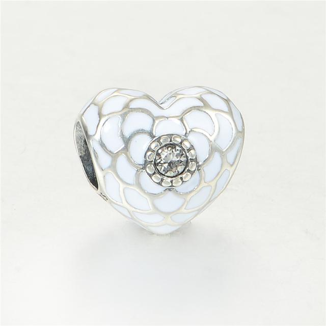 Стерлингового серебра 925 пробы украшения CZ камни в в форме сердца бусины DIY стерлингов - серебристо-ювелирные подходит европейским очаровывает браслеты