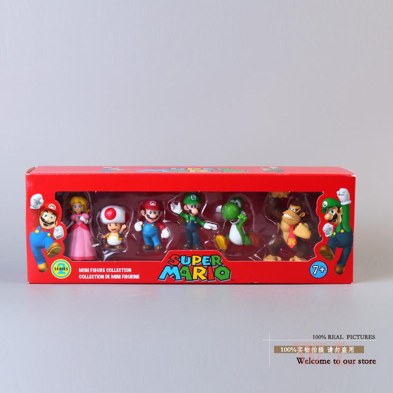 Free Shipping Super Mario Bros Peach Toad Mario Luigi Yoshi Donkey Kong PVC Action Figure Toys Dolls 6pcs/set New in Box SMFG218(China (Mainland))
