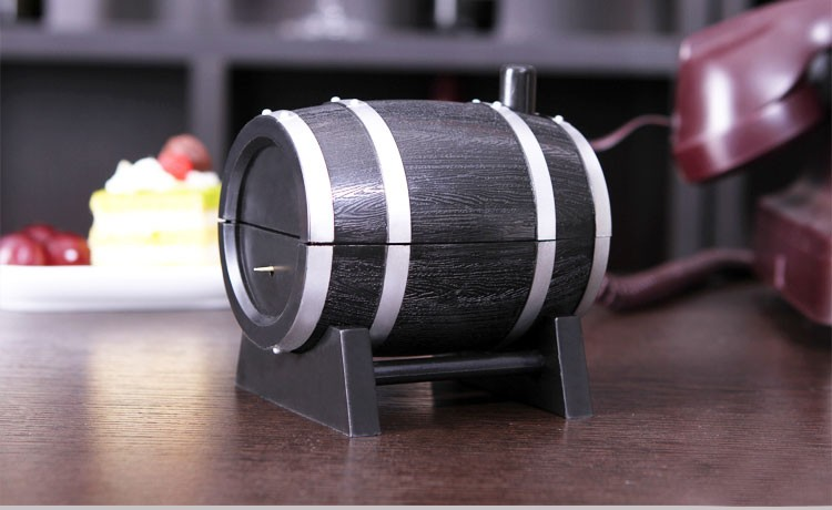 Novelty Wine Barrel Shaped Toothpick Holder Automatic Tooth Pick Bucket Kitchen Accessories