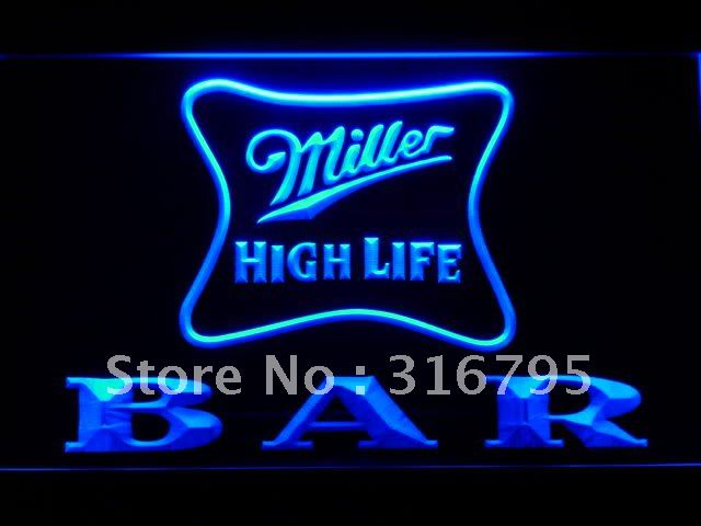 436-b BAR Miller High Life Beer LED Neon Light Sign Wholesale Dropshipping On/ Off Switch 7 colors DHL(China (Mainland))