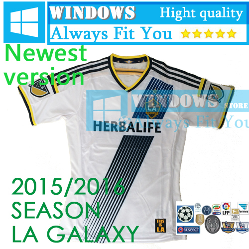2015 LA Jersey 15/16 Los Angeles LA Galaxy Soccer Jersey 8 Gerrard Beckham Football Shirt Donovan Keane Juninho 2016(China (Mainland))
