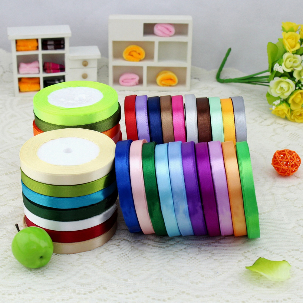 New Pretty Colorful Satin Ribbon Wedding Party Craft Sewing Decorations Packaging Hair Accessories Cloth Tape DIY(China (Mainland))