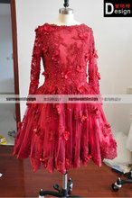 New real picture red lace knee-length long sleeve short cocktail dress for sale(China (Mainland))