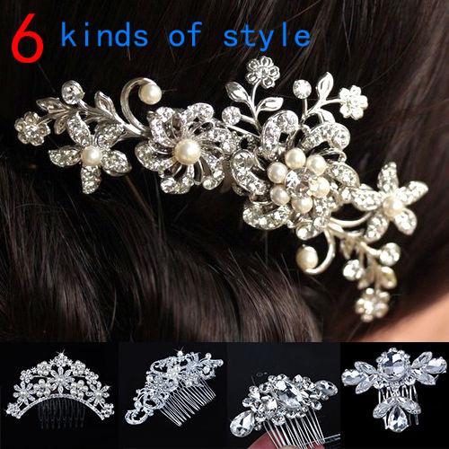 Женщины девушки свадебное серебряный кристалл горного хрусталя стразами цветок зажим для волос гребень контактный одежда головные уборы комбс