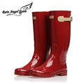 Women s Fashion Knee High Rain Boots Fresh Red Cool Motorcycle Rubber Rain Boots For Woman