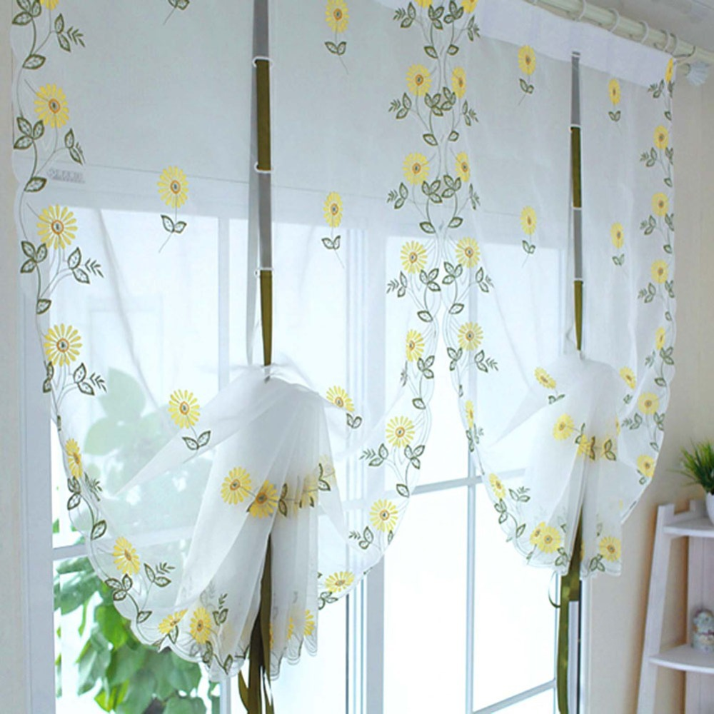 New Embroidered Sunflowers Shade Sheer Voile Cafe Kitchen Living Room Curtains 34inch 69inch