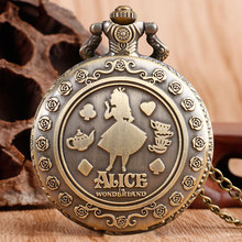 New Arrival Retro Alice in Wonderland Theme Bronze Quartz Pocket Watches Vintage Fob Watches Christmas Brithday Gift(China (Mainland))