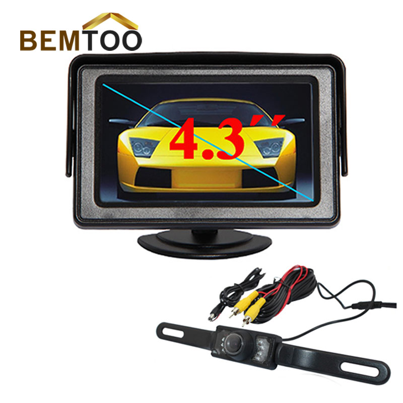 "Free Shipping , 7LED Night Vision Reversing Camera+4.3"" TFT LCD Screen Moniter Car Rear View KIT(China (Mainland))"