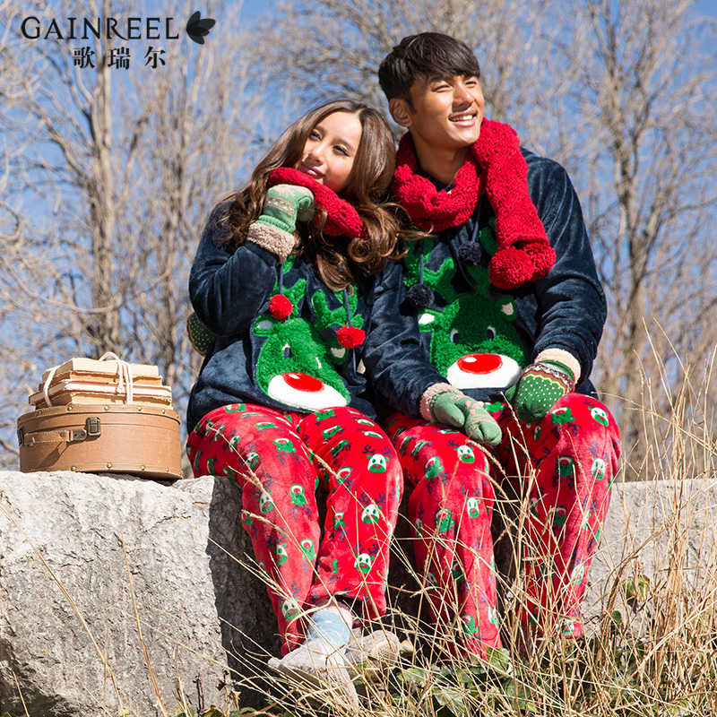 Song Riel autumn and winter flannel pajamas cartoon couple of men and women long sleeved hooded