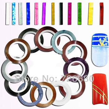 Free Shipping! 10Pcs/Lot Professional Nail Art Mix Colors Rolls Striping Tape Metallic Yarn Line Decoration Sticker 131-0006