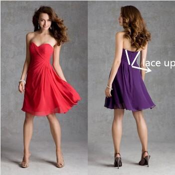 Короткая платье шнуровка Жилетidos де коктейльный шифон фиолетовый красный коктейльный платья OC4381