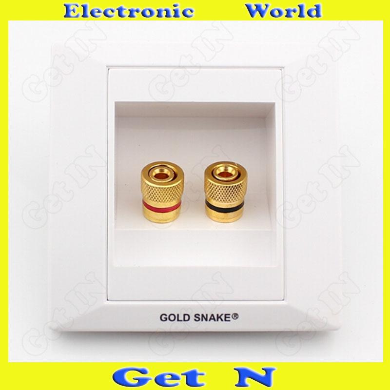 5pcs Genuine Gold Snake 4-Jack Banana Plug Socket Panel for Audio System Stereo Loudspeaker