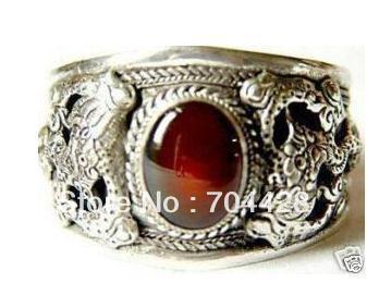 Free Shipping Rare Asian Tibet Silver Red Jade Bracelet