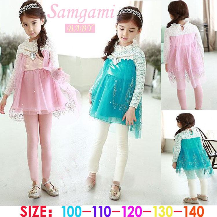 HOT Sale baby girls clothes set 2015 cartoon anna elsa mesh girls dress + pants cute upscale pink sky blue baby girl clothing<br><br>Aliexpress