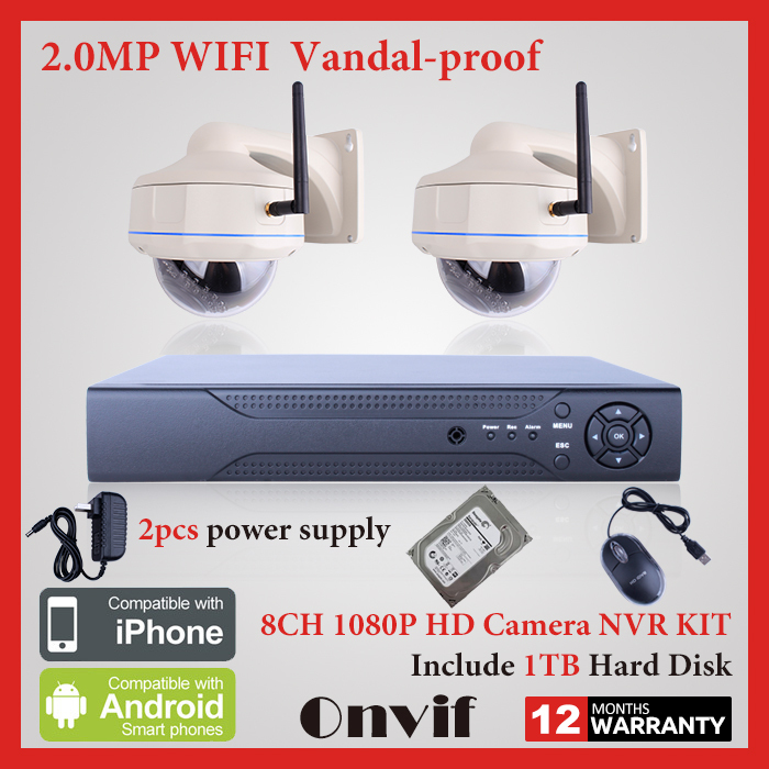 8CH H.264 NVR Network Video Recorder Wireless CCTV System 1TB HDD Onvif 1080P IP Camera Vandal-proof Dome WIFI Security Camera(China (Mainland))