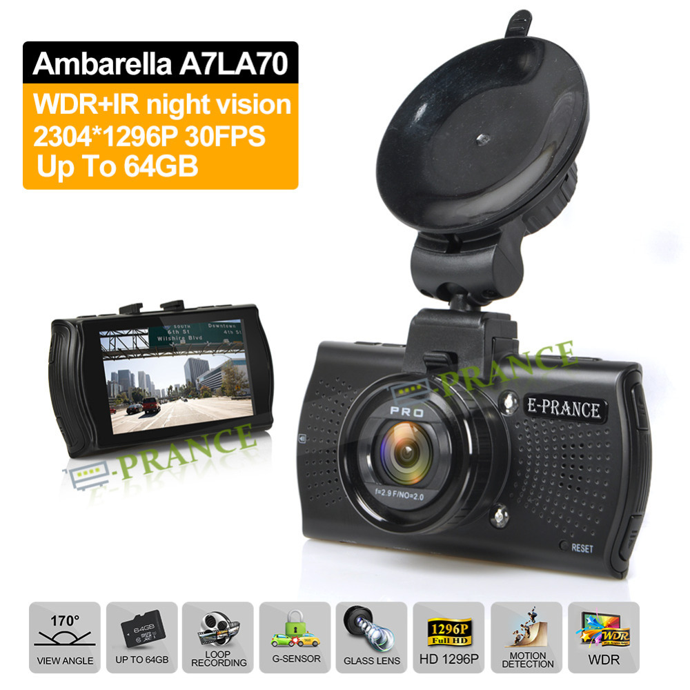 E-prance Car DVRS B48 Dashboard Car Camera Video Recorder Ambarella A7 LA70 HD 1296P With Optional GPS / Fliter 170 Degree(China (Mainland))