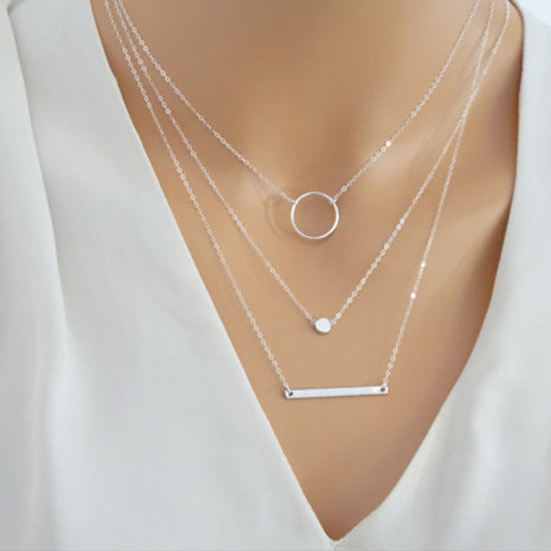 Silver Layered Necklace Set Silver Bar Necklace Jewelry Women Charm Necklace XL045