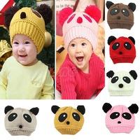 "B39 ""New Winter Warm Cute Panda Baby Toddler Kid Hat Wool Knitted Crochet Beanie Cap  free shipping"