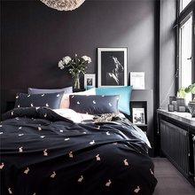 29Color Luxury Egyptian Cotton Bedding Set Queen King size 3d Flamingo Leaf Duvet Cover Bed sheet set Fitted sheet parure de lit(China)