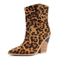 Candy kleur Snake skin botas mujer Westerse Laarzen Cowboy Laarzen voor vrouwen runway ontwerp Chunky Wiggen hak Mid-kalf laarzen 2019(China)