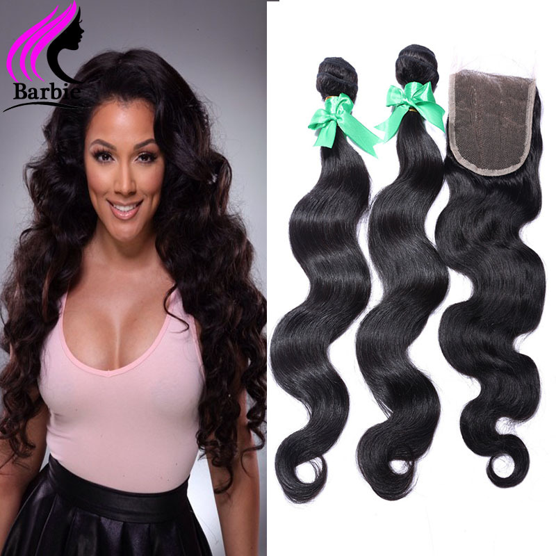 2015 New Arrived Indian Remy Hair 7a Grade Indian Virgin Hair Body Wave With Closure Rosa Hair Products With Lace Closure Women<br>