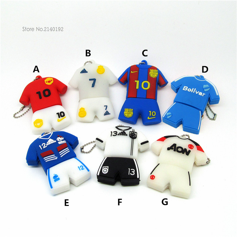Cute USB Flash Drive Football clothes/suit/Jersey 4GB/8GB/16GB/32GB Pen Drive Flash Cards PenDrive Soccer Superstars(China (Mainland))